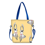 "Front blue Cykochik custom ""Love Bunnies"" rabbit eco-canvas vegan crossbody tote bag by Berkeley artist Michelle White"