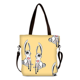 "Front brown Cykochik custom ""Love Bunnies"" rabbit eco-canvas vegan crossbody tote bag by Berkeley artist Michelle White"