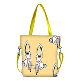 "Front chartreuse Cykochik custom ""Love Bunnies"" rabbit eco-canvas vegan crossbody tote bag by Berkeley artist Michelle White"