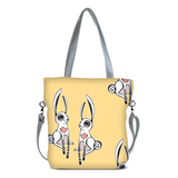 "Front gray Cykochik custom ""Love Bunnies"" rabbit eco-canvas vegan crossbody tote bag by Berkeley artist Michelle White"