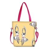 "Front hot pink Cykochik custom ""Love Bunnies"" rabbit eco-canvas vegan crossbody tote bag by Berkeley artist Michelle White"