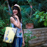 "Model 2 Cykochik custom ""Love Bunnies"" rabbit eco-canvas vegan crossbody tote bag by Berkeley artist Michelle White"
