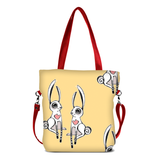 "Front red Cykochik custom ""Love Bunnies"" rabbit eco-canvas vegan crossbody tote bag by Berkeley artist Michelle White"