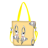 "Front yellow Cykochik custom ""Love Bunnies"" rabbit eco-canvas vegan crossbody tote bag by Berkeley artist Michelle White"