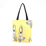"Cykochik ""Love Bunnies"" vegan tote bag front"