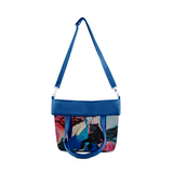 "Front folded Cykochik custom ""Kabuki Gravel"" eco-canvas vegan crossbody tote bag by Dallas artist Patricia Rodriguez"