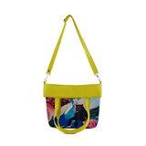 "Front folded chartreuse Cykochik custom ""Kabuki Gravel"" eco-canvas vegan crossbody tote bag by Dallas artist Patricia Rodriguez"