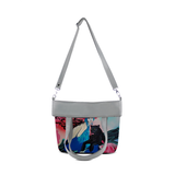 "Front folded gray Cykochik custom ""Kabuki Gravel"" eco-canvas vegan crossbody tote bag by Dallas artist Patricia Rodriguez"