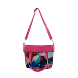 "Front folded hot pink Cykochik custom ""Kabuki Gravel"" eco-canvas vegan crossbody tote bag by Dallas artist Patricia Rodriguez"
