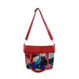 "Front folded red Cykochik custom ""Kabuki Gravel"" eco-canvas vegan crossbody tote bag by Dallas artist Patricia Rodriguez"