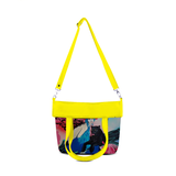 "Front folded yellow Cykochik custom ""Kabuki Gravel"" eco-canvas vegan crossbody tote bag by Dallas artist Patricia Rodriguez"