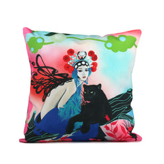 "Cykochik ""Kabuki Gravel"" eco-friendly vegan throw pillow by Patricia Rodriguez - Front"