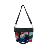 "Front folded black Cykochik custom ""Kabuki Gravel"" eco-canvas vegan crossbody tote bag by Dallas artist Patricia Rodriguez"