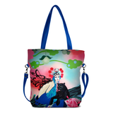 "Front blue Cykochik custom ""Kabuki Gravel"" eco-canvas vegan crossbody tote bag by Dallas artist Patricia Rodriguez"