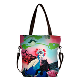 "Front brown Cykochik custom ""Kabuki Gravel"" eco-canvas vegan crossbody tote bag by Dallas artist Patricia Rodriguez"