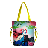 "Front chartreuse Cykochik custom ""Kabuki Gravel"" eco-canvas vegan crossbody tote bag by Dallas artist Patricia Rodriguez"