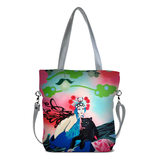"Front gray Cykochik custom ""Kabuki Gravel"" eco-canvas vegan crossbody tote bag by Dallas artist Patricia Rodriguez"