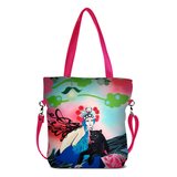 "Front hot pink Cykochik custom ""Kabuki Gravel"" eco-canvas vegan crossbody tote bag by Dallas artist Patricia Rodriguez"