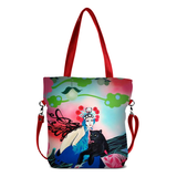 "Front red Cykochik custom ""Kabuki Gravel"" eco-canvas vegan crossbody tote bag by Dallas artist Patricia Rodriguez"