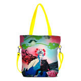 "Front yellow Cykochik custom ""Kabuki Gravel"" eco-canvas vegan crossbody tote bag by Dallas artist Patricia Rodriguez"