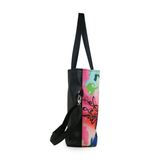 "Side black Cykochik custom ""Kabuki Gravel"" eco-canvas vegan crossbody tote bag by Dallas artist Patricia Rodriguez"