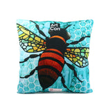 "Cykochik ""Apis"" bee eco-friendly vegan throw pillow by Monica Moody - Back"