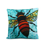 "Cykochik ""Apis"" bee eco-friendly vegan throw pillow by Monica Moody - Front"