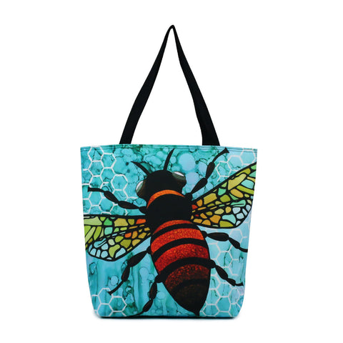 Front Cykochik X Art Con Apis Bee Eco-Canvas Vegan Tote bag by artist Monica Moody
