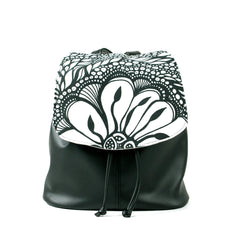 "Cykochik ""Botanica"" black eco-friendly vegan drawstring backpack purse by Dallas artist Jody Pham"