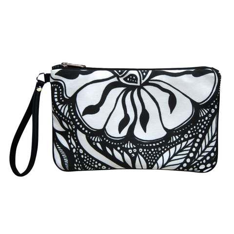 Front Black and white Cykochik custom Botanica floral eco-canvas vegan clutch wristlet bag by artist Jody Pham