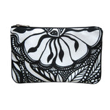 Black and white Cykochik custom Botanica floral eco-canvas vegan clutch bag by artist Jody Pham