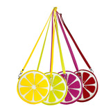 "Front Multicolored Cykochik ""Citrus"" Lemon Lime Fruit Slice Vegan Crossbody bag"