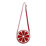 "Front Multicolored Cykochik Red ""Citrus"" Blood Orange Fruit Slice Vegan Crossbody bag"