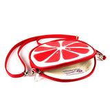 "Inside Cykochik Red ""Citrus"" Blood Orange Fruit Slice Vegan Crossbody bag"