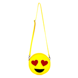 Front Cykochik yellow heart-eyes emoji applique vegan crossbody bag