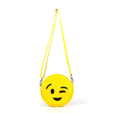 Front Cykochik custom yellow wink emoji applique vegan crossbody bag