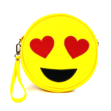 Front Cykochik yellow heart-eyes emoji applique vegan wristlet/clutch bag
