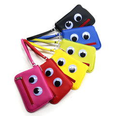 Googly-Eyed Monster Vegan Wristlet/Crossbody Bag (Multicolored)