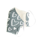 """Gray Painted Hearts"" Adjustable Fabric Face Mask"