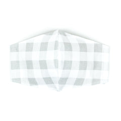 """Gray and White Plaid"" Adjustable Fabric Face Mask"