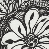 Detail Black and white Cykochik custom Botanica floral eco-canvas vegan crossbody/tote bag by artist Jody Pham