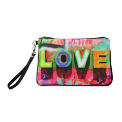 Cykochik Love Graffiti eco friendly recycled plastic canvas vegan clutch/wristlet bag - front