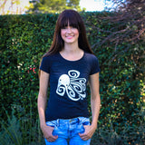 Model in Gray Cykochik Ocho octopus triblend women's t-shirt by Berkeley artist Michelle White
