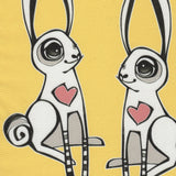 "Detail Cykochik custom ""Love Bunnies"" rabbit eco-canvas vegan crossbody tote bag by Berkeley artist Michelle White"