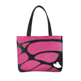 Front black and hot pink Cykochik custom Monarch butterfly applique eco-friendly vegan tote bag
