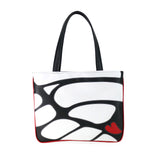 Front black and white Cykochik custom Monarch butterfly applique eco-friendly vegan tote bag