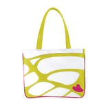 Front chartreuse and white Cykochik custom Monarch butterfly applique eco-friendly vegan tote bag