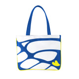 Front blue and white Cykochik custom Monarch butterfly applique eco-friendly vegan tote bag