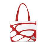 Front red and white Cykochik custom Monarch butterfly applique eco-friendly vegan tote bag