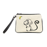 """Monkey Moon"" Embroidered Canvas Vegan Wristlet/Crossbody Bag - Illustration by artist Michelle White (Multicolored)"